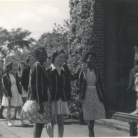 Filming of The New School, at Homerton in 1944.