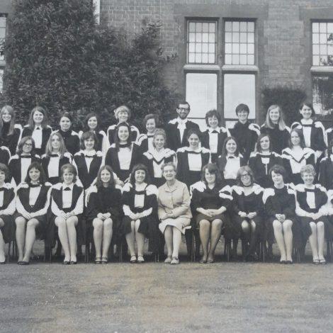 The graduating class of 1971, with Principal Paston Brown