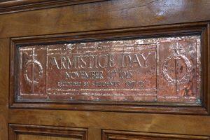 Copper plaque remembering Armistice Day in 1918