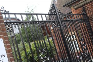 The wrought iron gates at the North East entrance