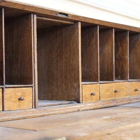 The shelves and drawers of a bureau